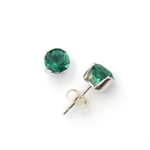 Sterling Silver Half Bezel Gemstone Earrings Lab Created Emeralds