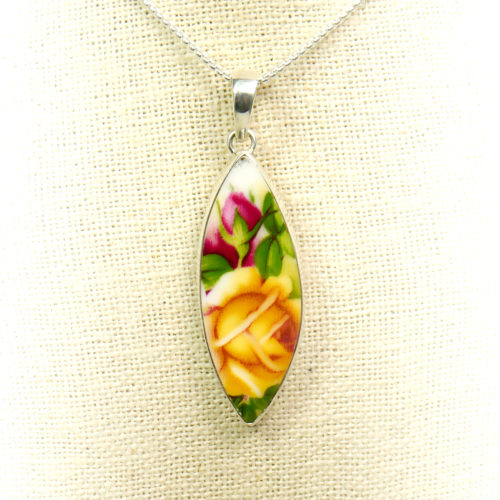 Sterling Silver Ceramic Art Floral Jewelry Pendant
