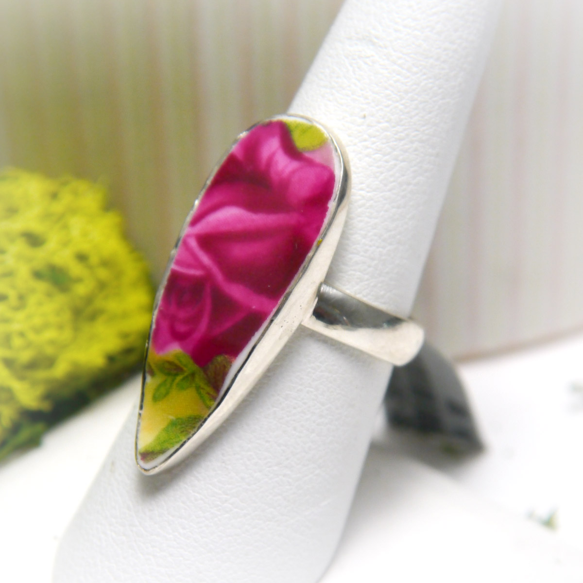 Sterling Silver Ceramic Art Floral Jewelry Ring