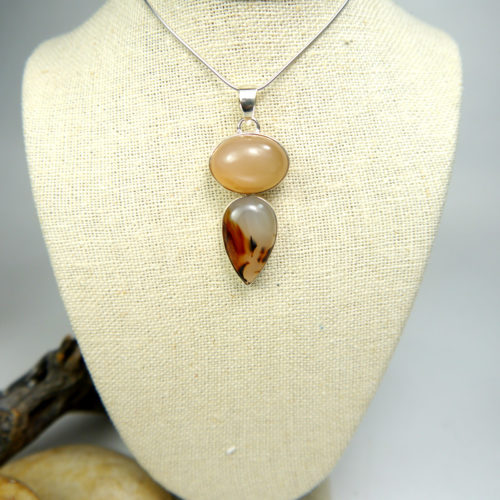 Peach Moonstone and Agate Pendant in Sterling Silver