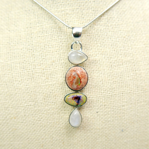 Moonstone and Mexican Opal Pendant in Sterling Silver