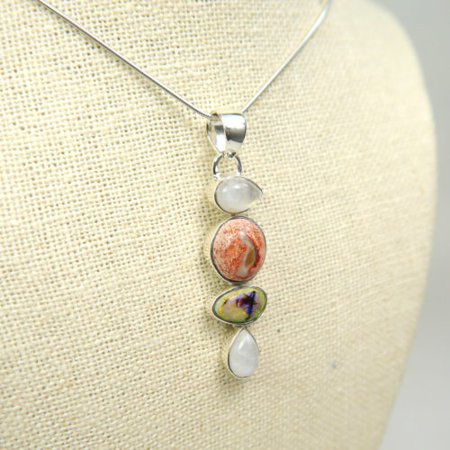 Moonstone and Opal Pendant in Sterling Silver