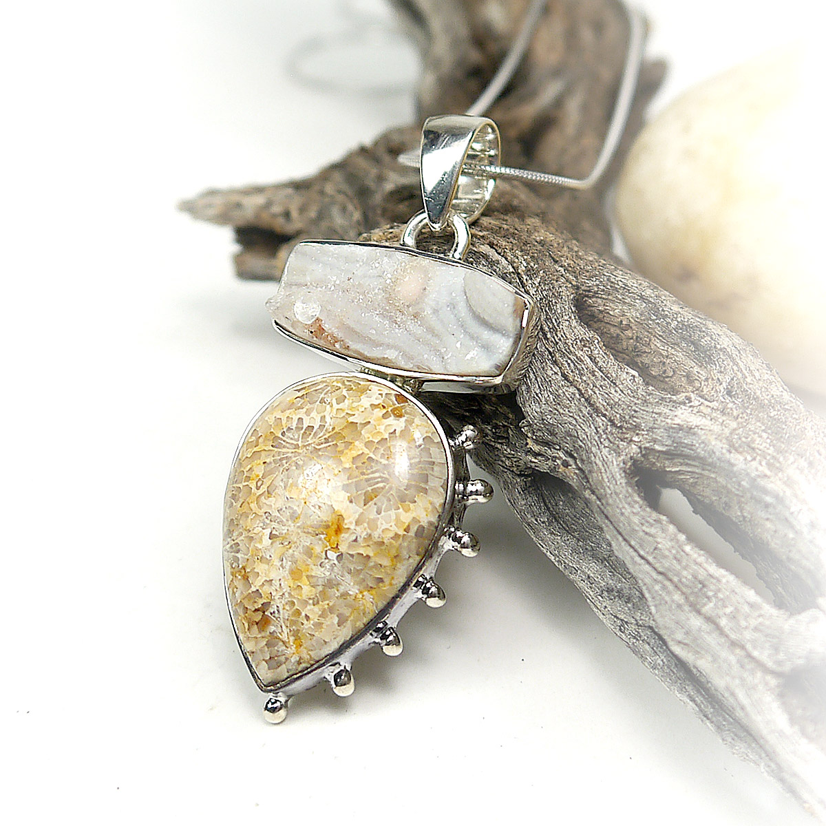 Desert Druzy and Fossil Coral Pendant in Sterling Silver
