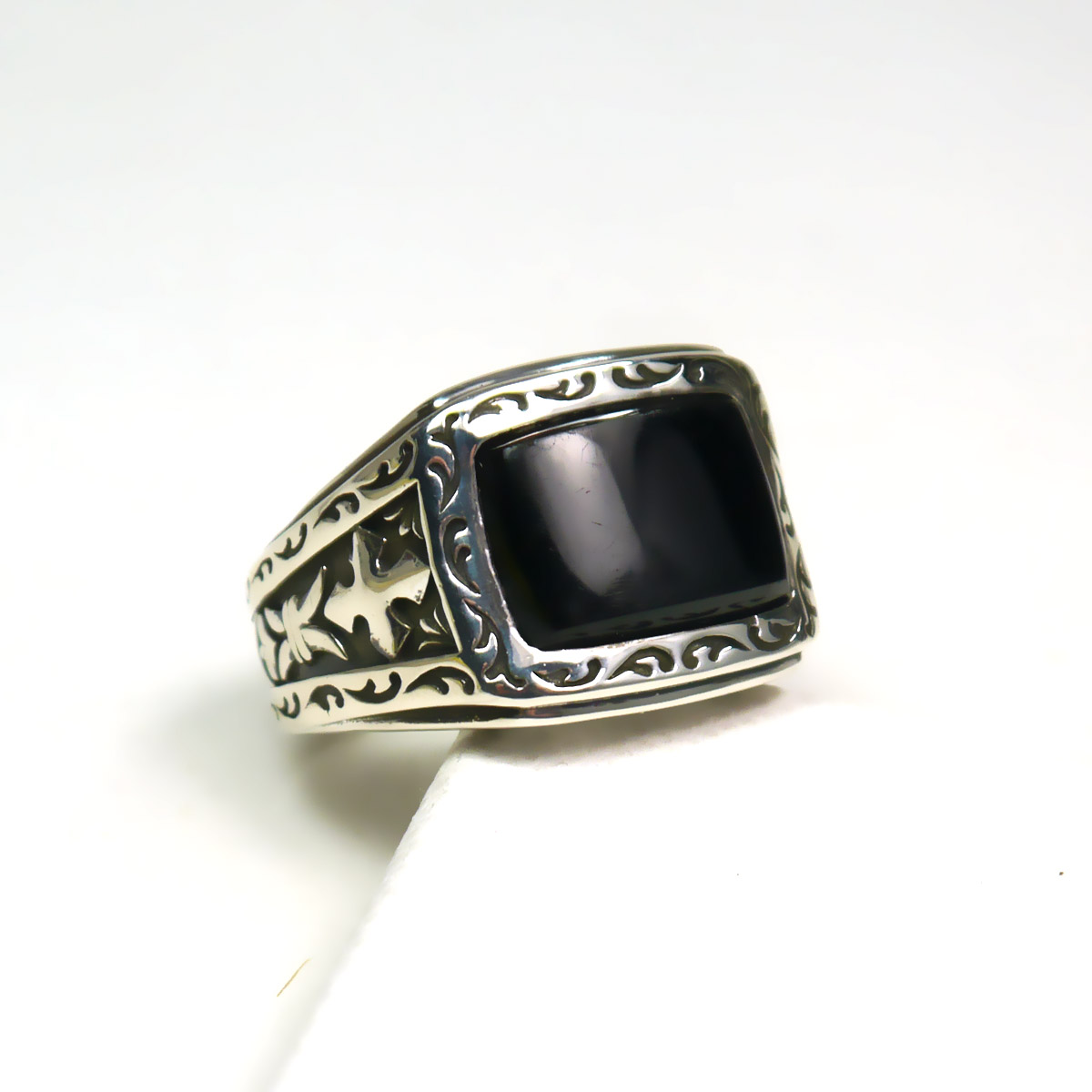 SCOTT KAY STERLING SILVER BLACK ONYX GILBERT RING
