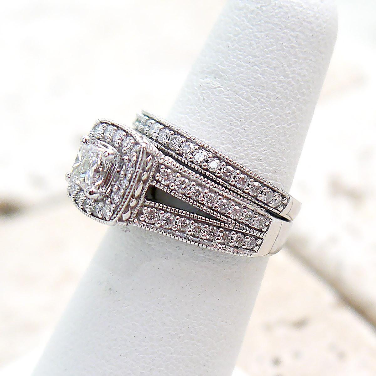Princess Cut Split Shank Diamond 2 piece Bridal Set