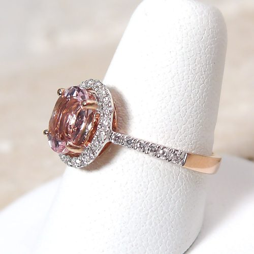 Oval Pink Halo Morganite and Diamond Ring in 14k Rose Gold
