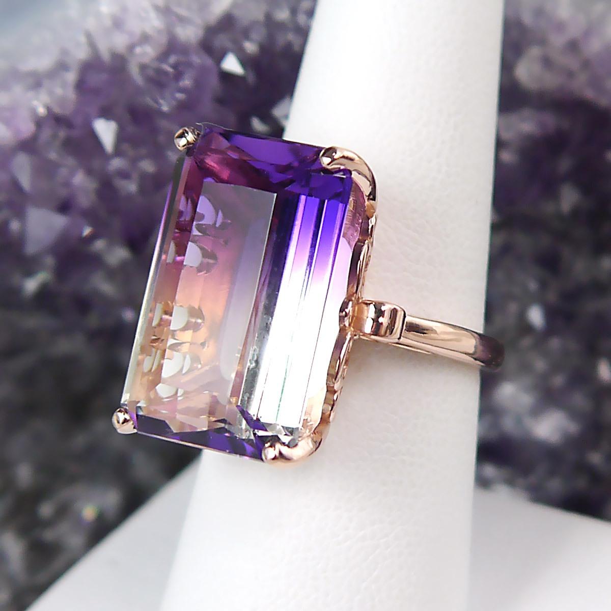 Custom Bi-color Quartz Gemstone Ring in 14k Rose Gold