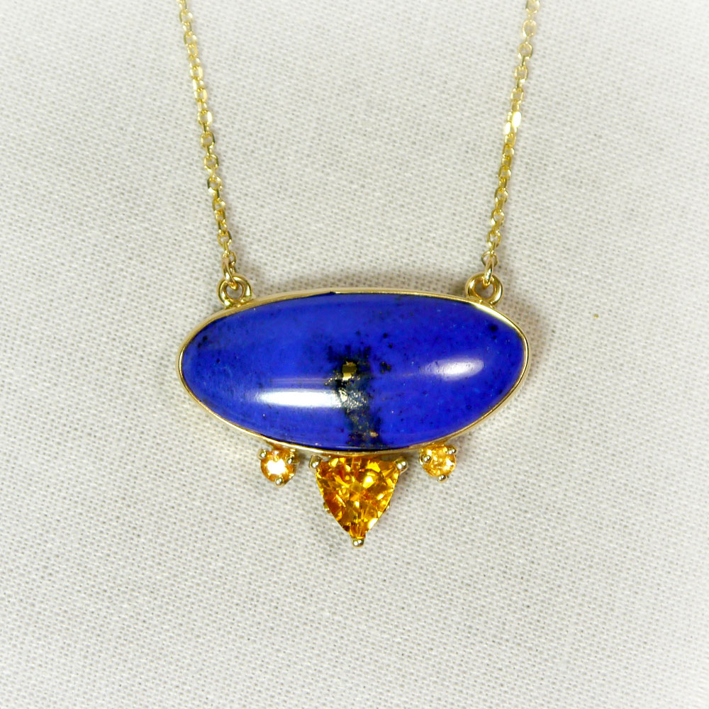 Custom Large Oval Lapis, Citrine, and Garnet Necklace in 14k