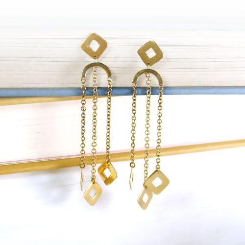 Geometric Gold Drop Dangle Earrings