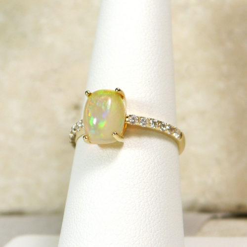 14k Yellow Gold Oval Opal Diamond Ring