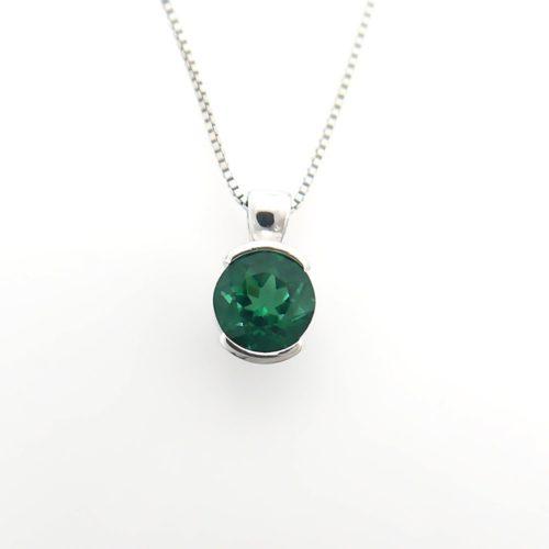 Sterling Silver Half Bezel Gemstone Pendant