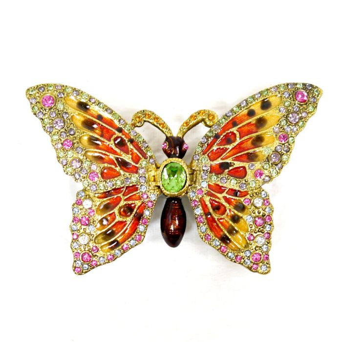 Enameled Butterfly Trinket Box with matching Necklace